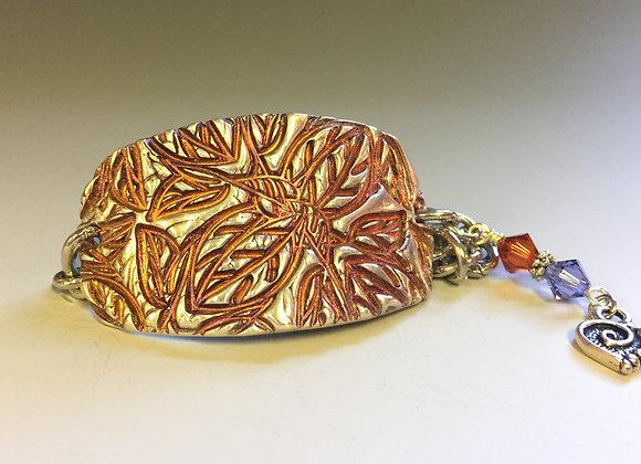 Embossed Leaves Fine Silver Cuff Bracelet