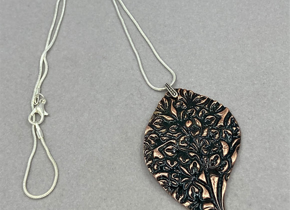Copper Leaf and Texture pendant