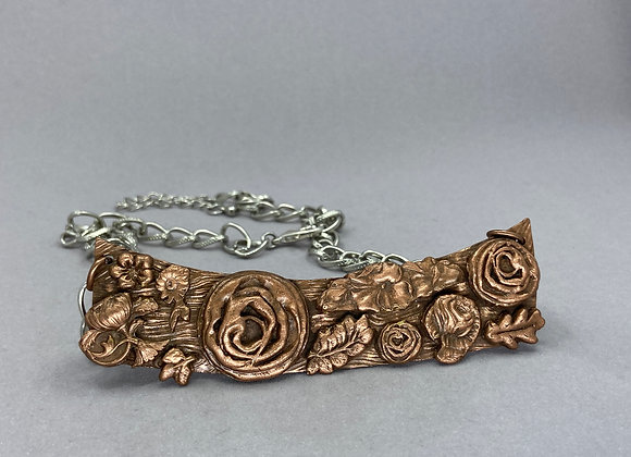 Flowers and Leaves in Bold Copper Neck Piece