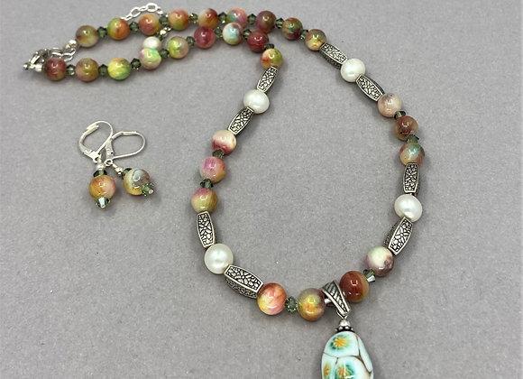 Multicolored Agate Stone & Pearl Necklace Set
