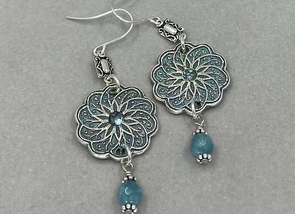 Elegant Apatite & Sapphire Earrings