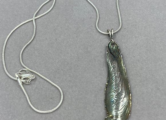 Maple Seed Pod in fine silver pendant