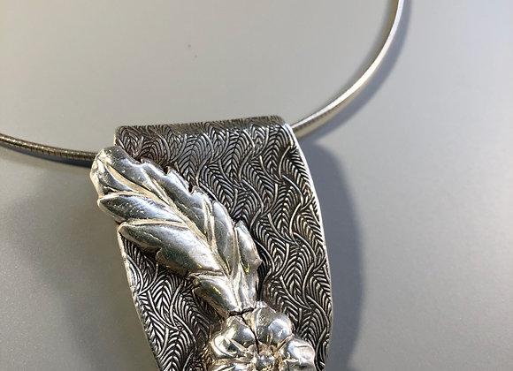 Leafy Floral Fine Silver Pendant