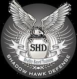 Shadow Hawk Defense logo, a hawk with a shield in it's talons, wings spread wide.