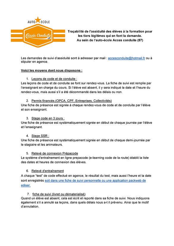 2.4 assurer la traçabilité de l'assiduit