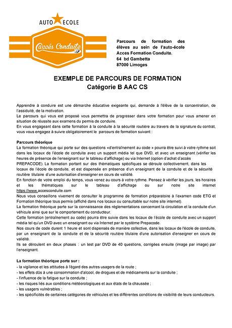 3.1 Parcours de formation B AAC CS accsf