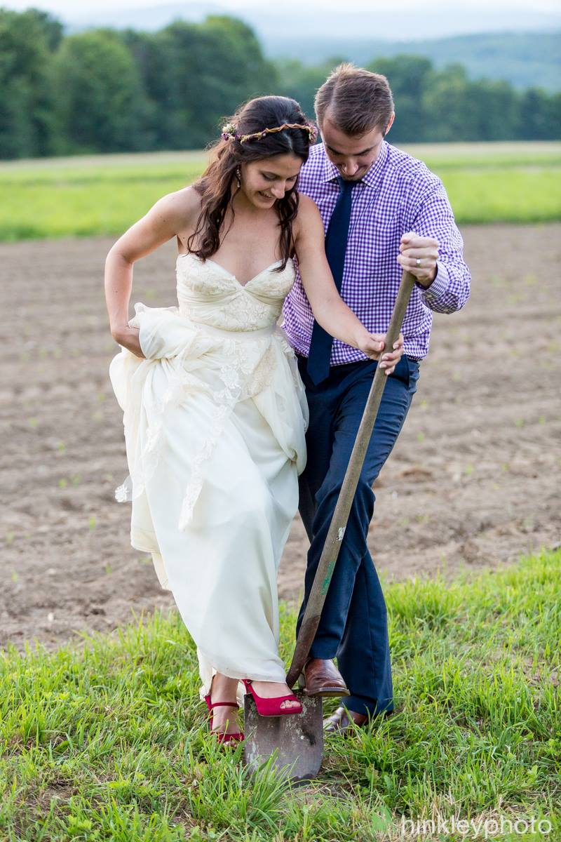 Bride & Groom digging in fields