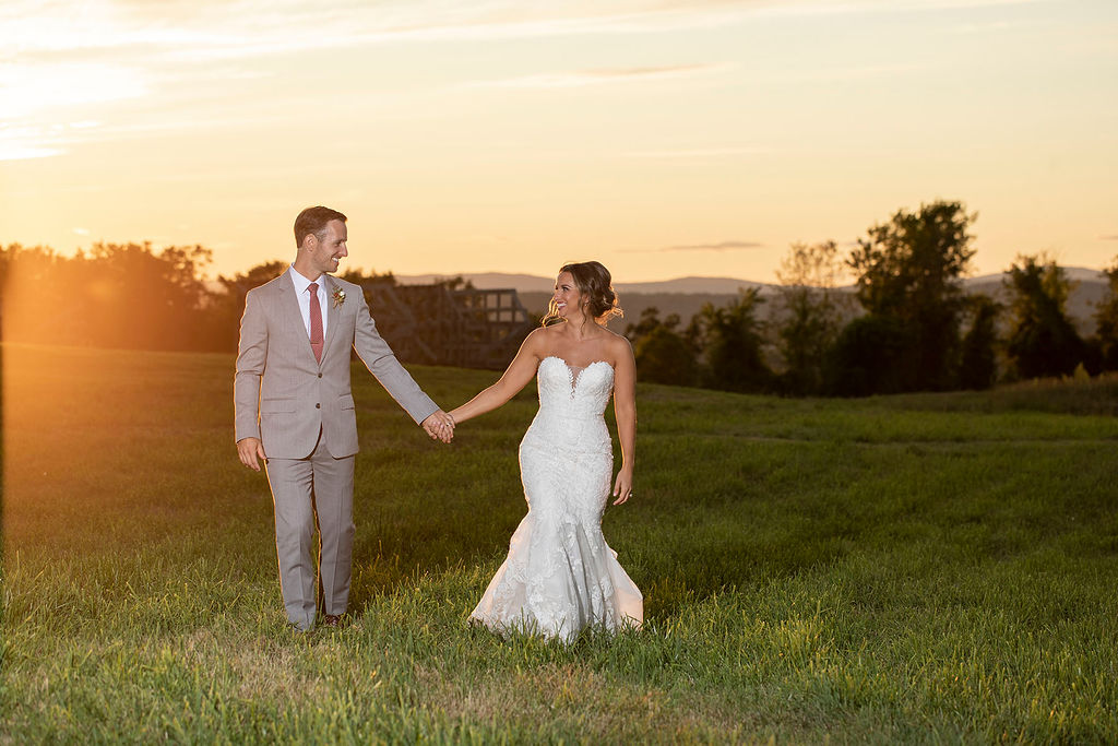 Bride & Groom in Meadows at Sunset