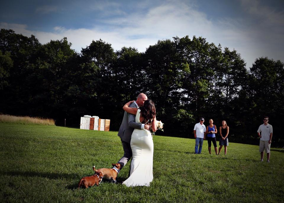 Just Married Bride & Groom with Dogs