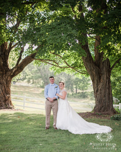 Wedding Couple in Wooded Grove