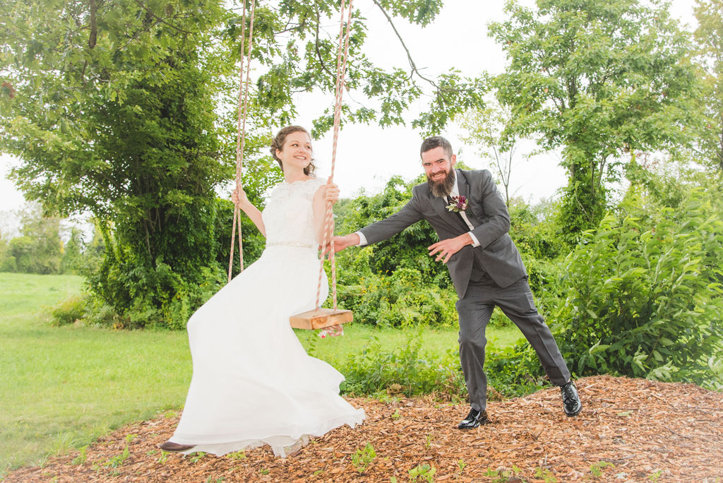 Bride & Groom on Swing