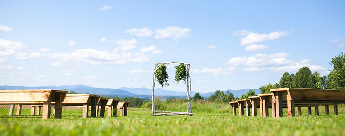 Spring Smith - Timber Hill Farm - ceremony set up with birch arbor