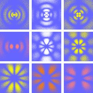 Example vibrational patterns inside hydrogen atoms