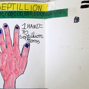 """I estimate """"70 septillion atoms fit in my hand"""" at Hollickwood"""