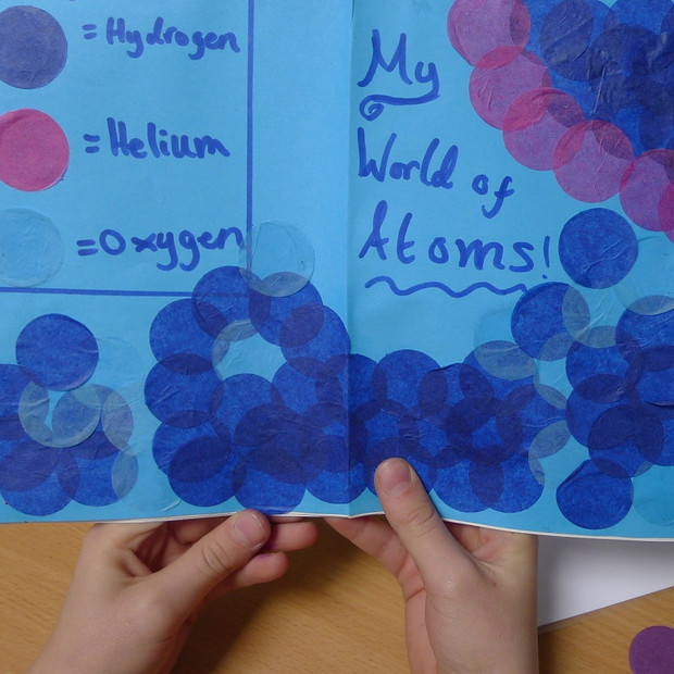 The sea and the sun made of hydrogen, helium and oxygen atoms