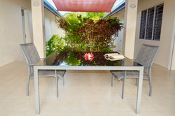 Patio with dining table