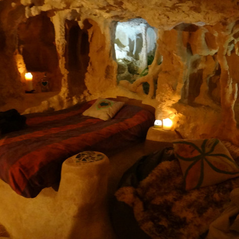 Inside the magical cave.
