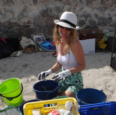 Segregating the rubbish during a beach clean.