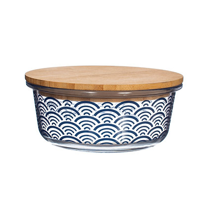 Blue Wave Glass Container With Bamboo Lid   Sass & Belle