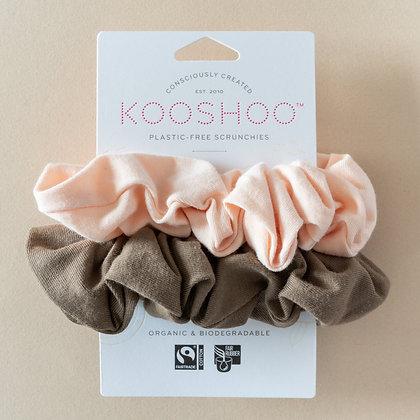 KOOSHOO Plastic Free Hair Scrunchies | Blush Walnut | 2 Pack