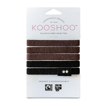 KOOSHOO Plastic Free Hair Ties   Brown Black   5 Pack