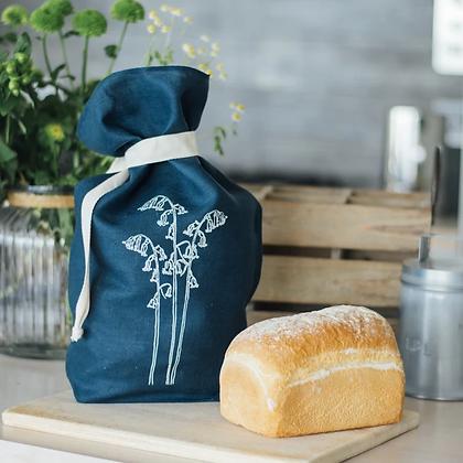 Navy Blue Linen Bread Bag - Helen Round