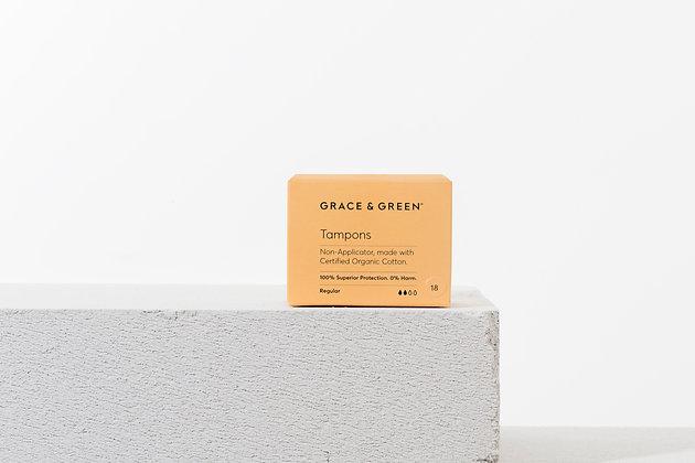 Grace & Green | Organic Cotton Regular Tampons | Plastic-Free (18 Pack)