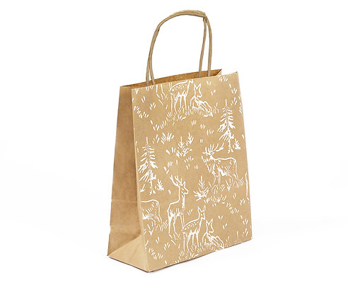 Deer Print Gift Bag | 100% Recycled | Small
