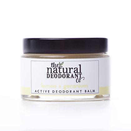 The Natural Deodorant Co.   Active Deodorant Balm 55g   Lemon & Geranium