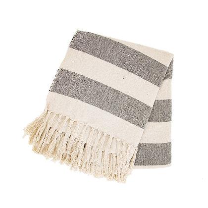 Scandi Boho Stripe Blanket Throw   100% Recycled Yarn