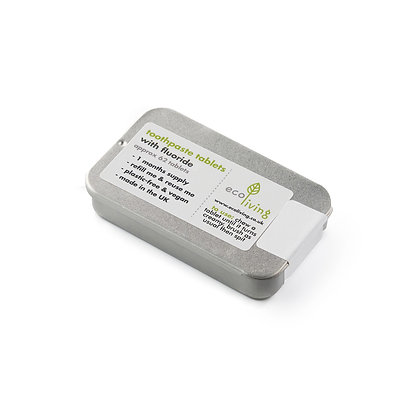 Eco Living Toothpaste Tablets with Refillable Tin - Flouride