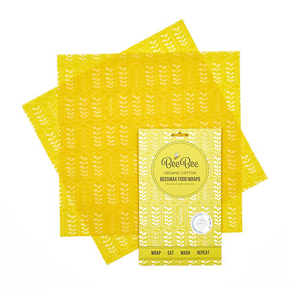BeeBee Wraps Mixed Size Pack - Wheat Print