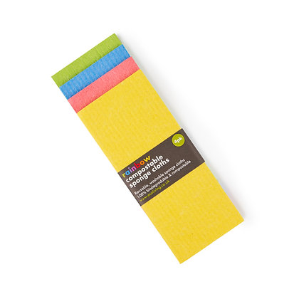 Eco Living Compostable Sponge Cleaning Cloths - Rainbow 4 Pack