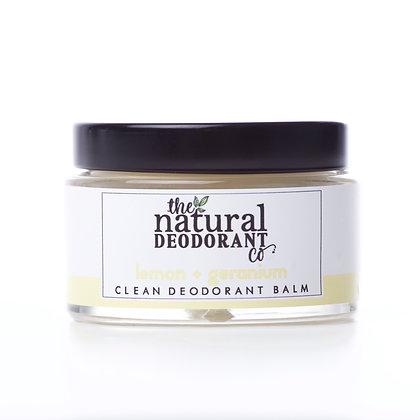 The Natural Deodorant Co.   Clean Deodorant Balm 55g   Lemon & Geranium