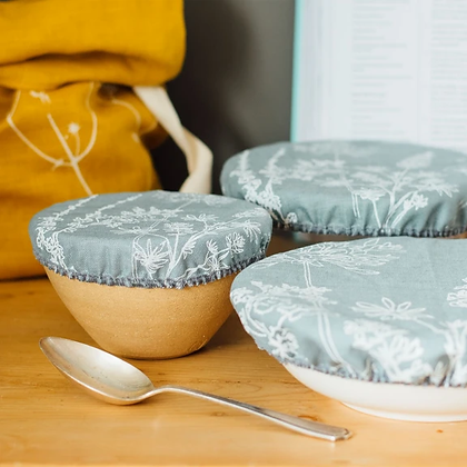 Helen Round | Reusable Bowl Covers | 100% Linen | Set of 3 | Duck Egg