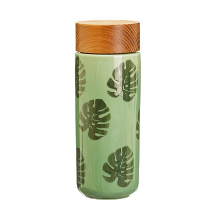 Cheese Plant Leaf Ceramic Bottle