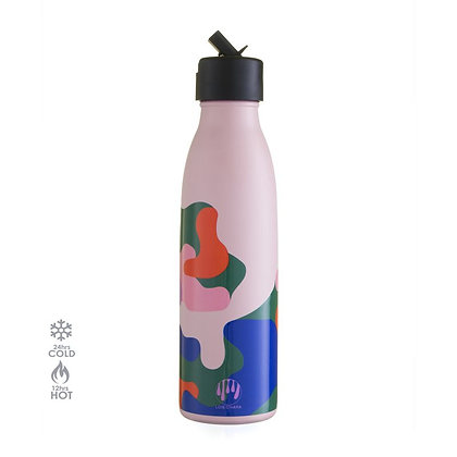 One Green Bottle - Pale Pink Lois O'Hara Thermal Insulated 500ml Bottle