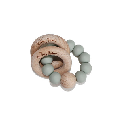 Baby Bubbles Teething Ring  - Sage Green