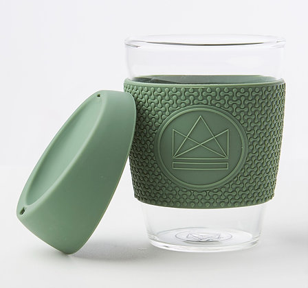 Neon Kactus Glass Coffee Cup - Happy Camper