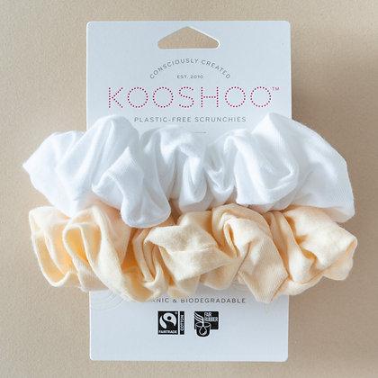 KOOSHOO Plastic Free Hair Scrunchies | Natural Light | 2 Pack