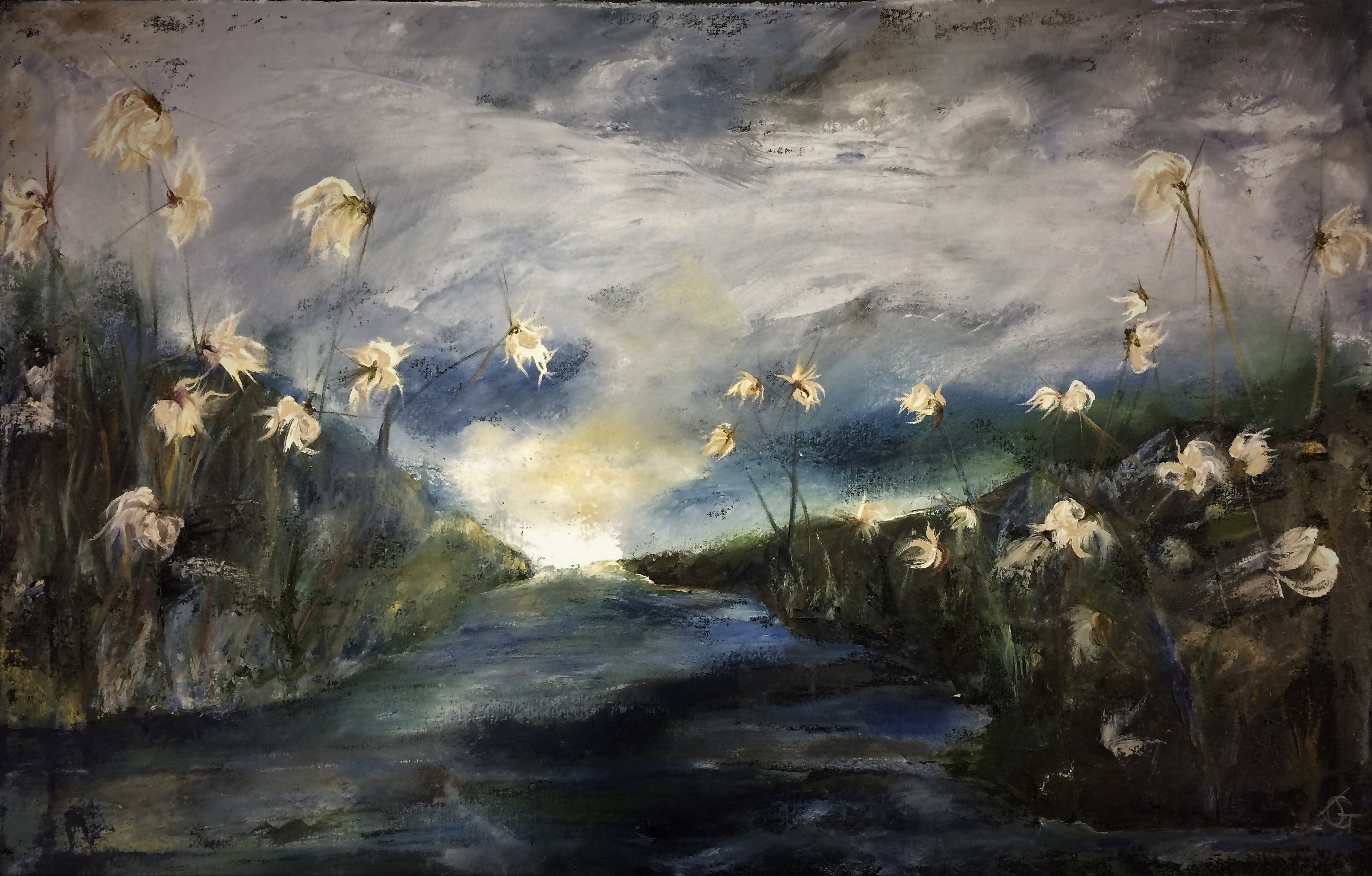 Bog, evening light I oil on canvas 65x10