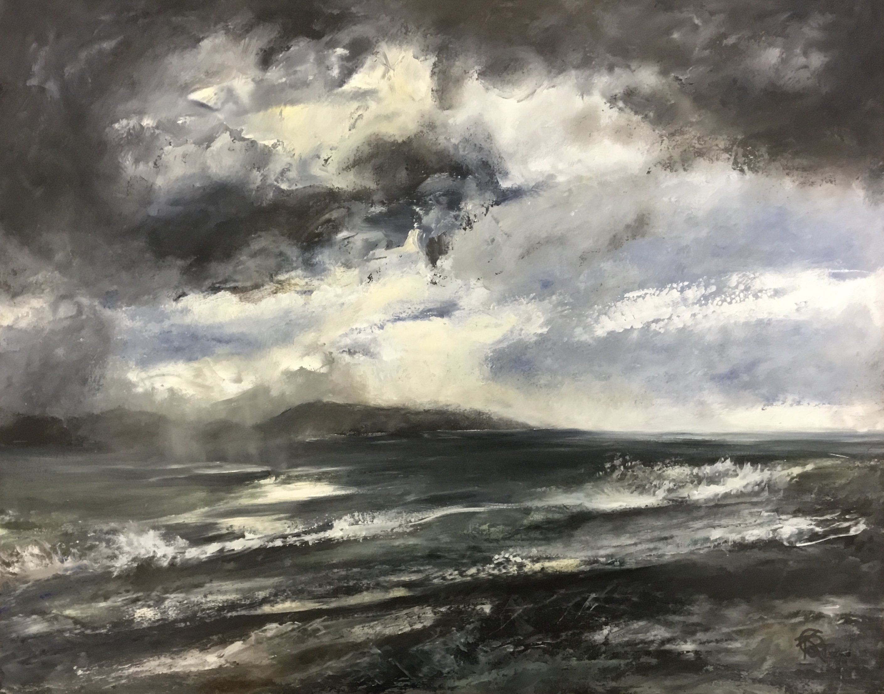 Sacred Land Rain Clouds oil on panel 39x49cm