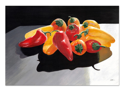 realism painting of red and yellow peppers