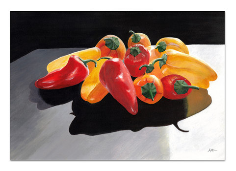 red and yellow photo realism painting of peppers