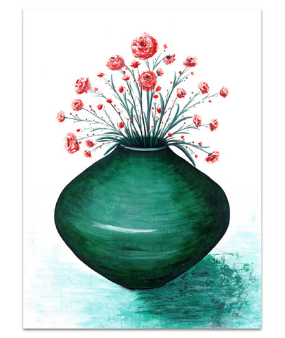 painting of large emerald green vase and red delicate flowers