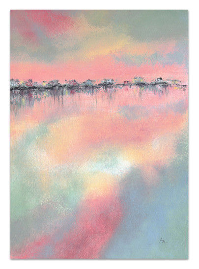 seascape painting of abstract cottages in pink blue peach