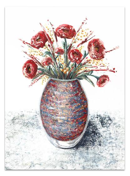 original acrylic floral painting vase of dark red flowers