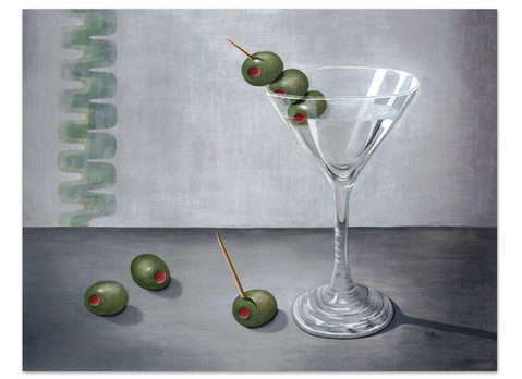martini glass painting with olives in gray and green