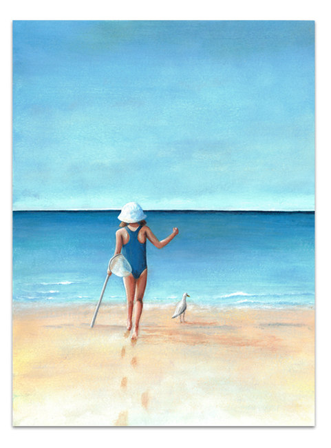 child on beach with seagull and blue ocean and sky