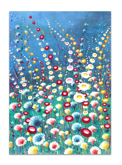 painting of quirky flowers in red blue green